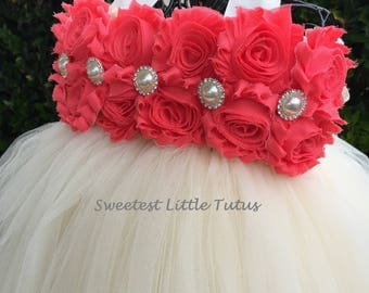 Coral and Ivory Flower Girl Tutu Dress/ Coral Flower Girl Dress/Ivory Flower Girl Dress/ Flower Girl Dress