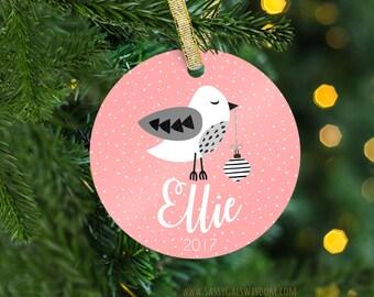Personalized Bird Ornament Keepsake, Custom Name Christmas Ornament, Ornament for Girl, Baby's First Christmas Ornament, Custom Ornament