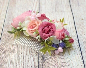 Flower Hair Comb Pink hair comb Flowers Hair Pink Wedding hair accessories Wedding hair comb  Bridal hair accessories