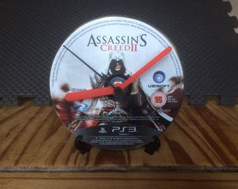Assassin's Creed II - CD Game Disc Clock - AC2 Ezio PS3 Gaming Clock Gift