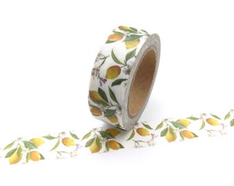 Floral Washi Tape Lemon Tree Foliage Yellow & Green 10 Metres