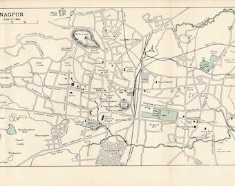 1962 Nagpur India Vintage Map
