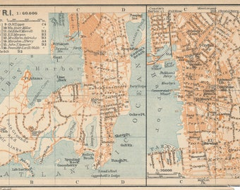 1909 Newport Rhode Island Antique Map