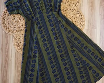 1980's-90's Vintage PASSPORTS of Pier 1 Imports Blue and Olive Green Empire Waist Midi Dress Rayon