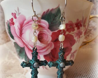 Light Turquoise Patina Cross Earrings, Faith Jewelry, Rosary Beads, Upcycled and Repurposed Jewelry