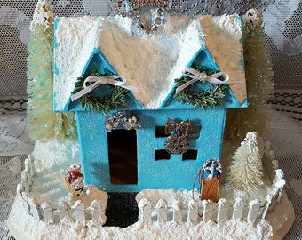 Vintage Inspired Putz House Shabby Chic Turquoise Christmas Snow House, Christmas Decoration, Christmas Village Glitter House