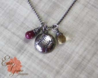 READY TO SHIP - Silver Baseball Necklace, Fine Silver, Choose Team Colors, Ruby and Citrine, Pmc
