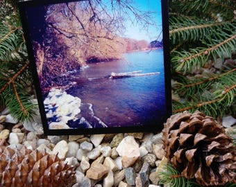 Greeting card double 15cm x 15 cm 'Winter boat' / nature photography / / winter landscape