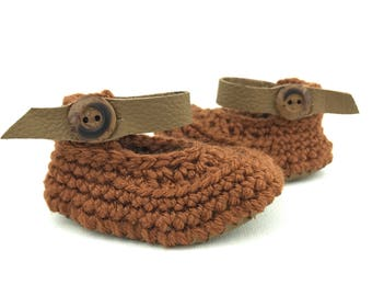 Baby Girl Sandals, Brown Leather Infant Anklets, Low-Rise Crochet Booties, Unique Newborn Shoes, Grippy New Walkers, Handcrafted Soft Soles