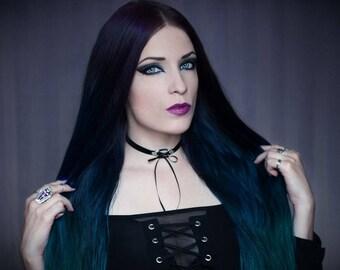 Corset Choker Gothic necklace black velvet ribbon bow collar vampire victorian