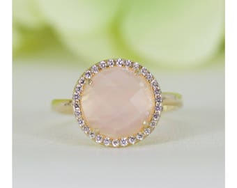 Natural Rose Quartz and Fine Quality Cubic Zirconia Ring Gold-Plated In Sterling Silver, Anniversary Ring, Engagement Ring, Promise Ring