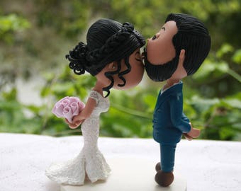 Cute couple forehead kiss. Wedding cake topper. Handmade. Fully customizable. Unique keepsake