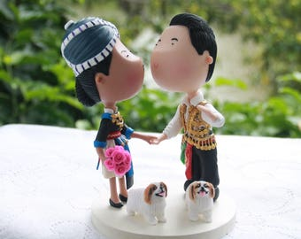 Hmong couple with pets. Handmade. Fully customizable. Unique keepsake