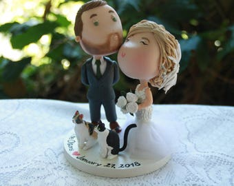 Cute couple kiss  - Eyes close. Cute pets. Wedding figurine. Bride and Groom. Handmade. Fully customizable. Unique keepsake