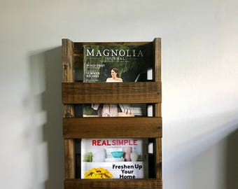 magazine rack rustic double vertical magazine holder magazine organizer wood wall mounted magazine