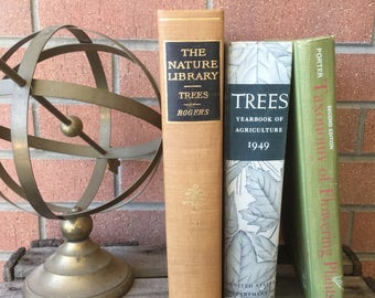 Collection of Tree and Plant Books, Decorative Books, Rustic Books