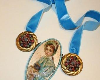 Necklace Victorian necklace romantic Pug dog necklace
