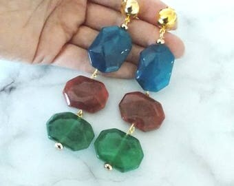 Blue Brown and Green Stone Effect Handmade Clip-On Statement Earrings