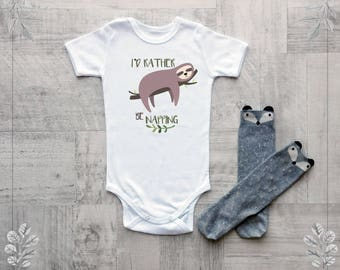 Baby clothes with sloth print, Baby boy or girl clothes, Sloth baby bodysuit, I'd rather be napping baby clothes, Baby shower gift