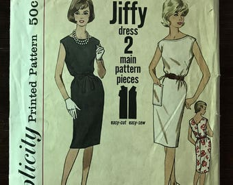 Simplicity 4429 - 1960s Jiffy Sleeveless Dress with Boat Neck and V Back - Size 12 Bust 32