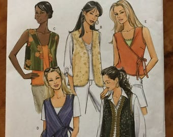 Butterick B4808 - Very Easy Vest Collection with Short Waisted, Side Wrap, Round and Weskit Shaped Hem Options - SIze XS S M