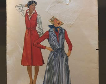 Butterick 5521 -1970s  Semi Fitted Jumper with Pointed Convertible Collar with Cutaway Armholes and Drawstring Waistline - Size 12 Bust 34
