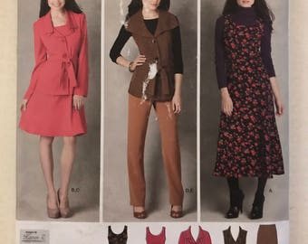Simplicity 2155 - Karen Z Princess Seamed Dress, Buton Front Jacket or Vest with Ruffle Collar, and Pants - Size 10 12 14 16 18