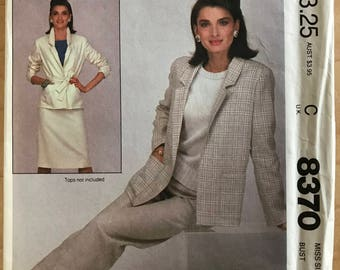McCalls 8370 - 1980s Easy to Sew Jacket, Tie Belt, Skirt, and Pants - Size 16 Bust 38