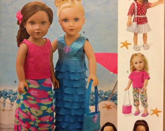 """Simplicity S0647 18"""" Doll Clothes Ruffle Knit Dress or Skirt, Tops Skirt, Shorts & Capris Pants with Accessories"""