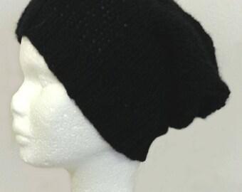 perfect hand knitted Hat hair long dark hair woman Hat long hand knit wool