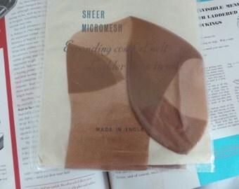 Brown stockings , Vintage seamfree sheer micromesh ladies stockings vintage size 9.5
