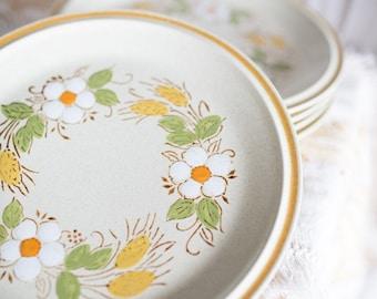 Vintage Flower Handpainted Stoneware Japan Dinner Plates Set of 5