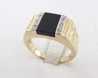 14k Yellow Gold Men's Diamond And Onyx Ring, 14k Gold Men's Gemstones Ring Size 10