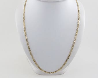 "14k Yellow Gold Figaro Link Chain Necklace 22"" 12.7 grams"