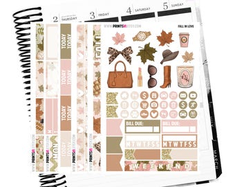 Fall In Love Full Kit, Planner Stickers
