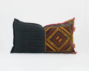 "Rare Vintage Tai Lu Hill Tribe Lumbar Pillow Cushion Cover 24x13"" Handwoven Embroidered Hill Tribe Fabric Cotton Ethnic Bolster, Geometric"