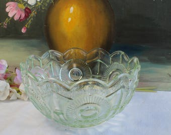Mint Green Large Pressed Glass Serving Bowl