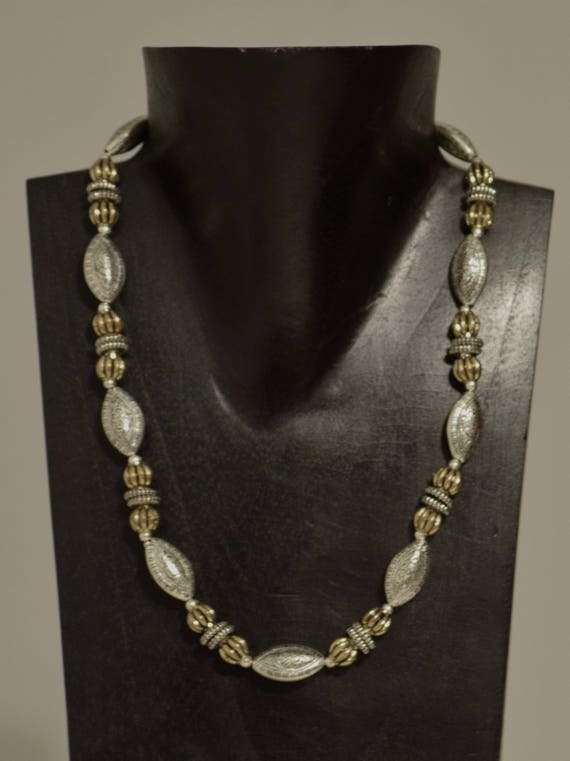 Necklace Antique Assorted Silver Oval Gold Round Beads Handmade Jewelry Silver Rondelles Gold Fluted Bead Necklace