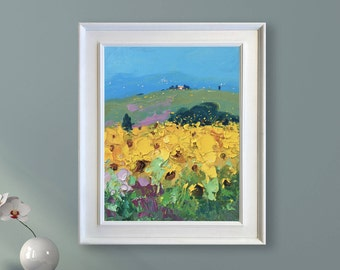 Abstract Landscape Painting Sunflowers Painting Oil Painting Landscape Art Landscape Wall Art Modern Painting Tuscan Painting Country Art