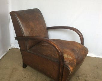 Art Deco 1920s Bentwood Leather Armchair Curved Art Deco Armchair Art Deco  Bentwood Fireside Chair 1920s