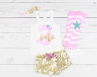 Baby Girl Mermaid First Birthday Outfit, 1st Birthday Onesie, Mermaid Tanktop, Baby Girl One Birthday, 1st Birthday Mermaid, Sequin Shorts