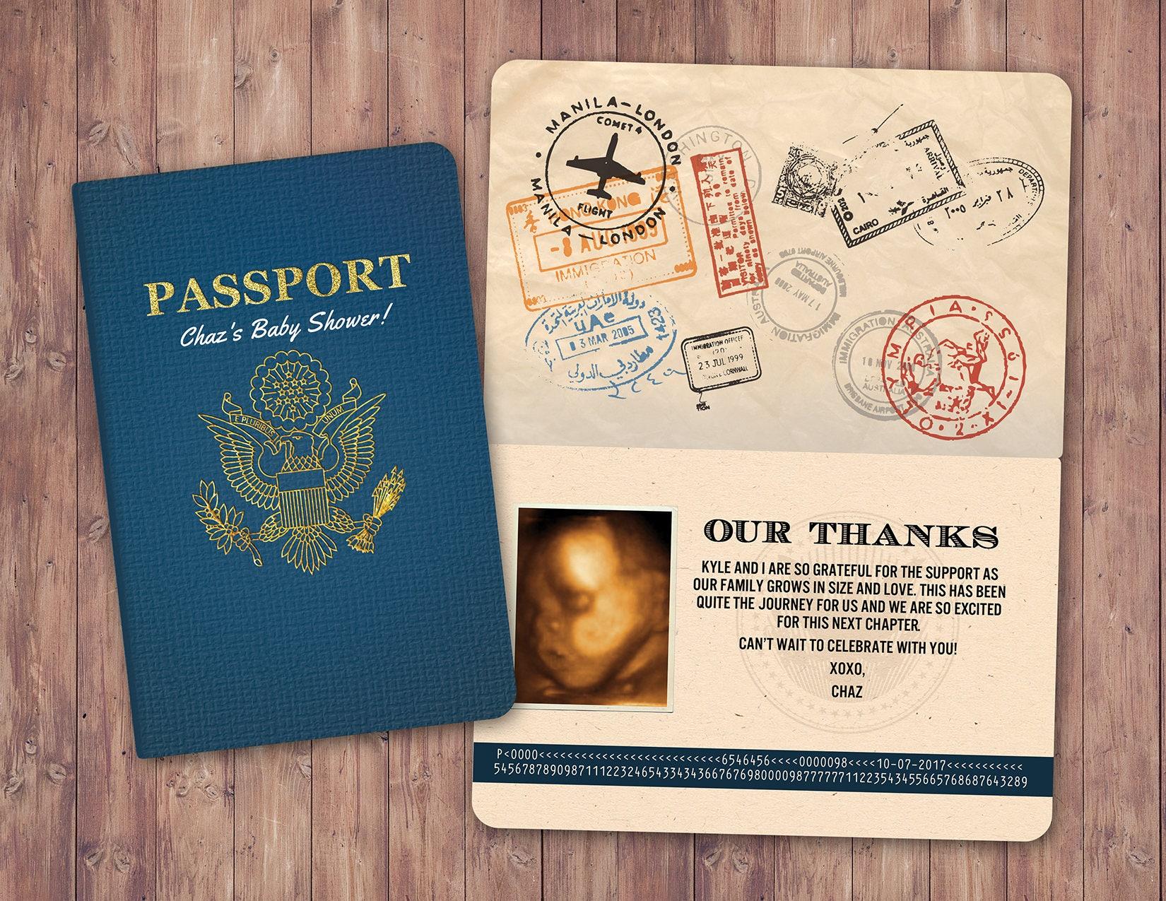 Thank you card passport passport invitation travel theme