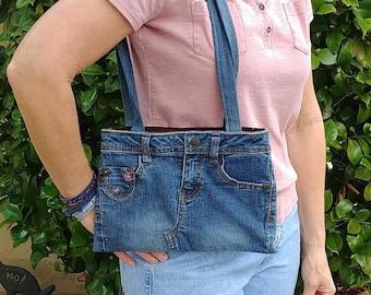 Denim bag blue, shoulder bag, jeans purse blue, tote bag jeans, recycled jeans bag, Lei jeans purse, purse blue jeans, cell phone pouch, D92