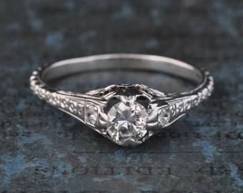Edwardian Engagement Ring-Victorian Engagement Ring-Art Deco Engagement Ring-1920s Engagement Ring-Solitaire Diamond Ring-18k WG