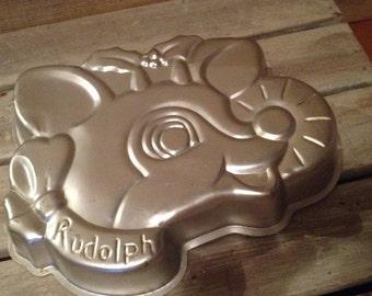 Vintage Wilton Aluminum Cake Pan *Rudolph*