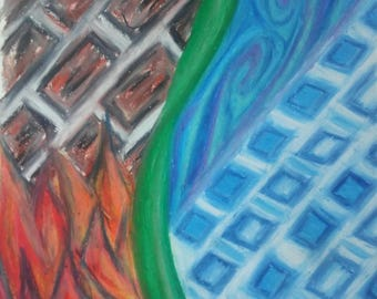 Original Pastel Drawing titled -Element Shifts- framed/available with or without matting
