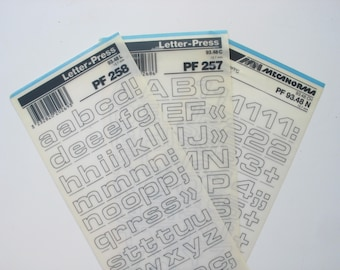 3 rub on lettering sheets, Mecanorma 48 pt transfer letters