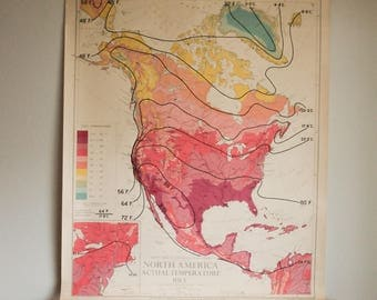 Vintage Pull Down Map United States Temperature July