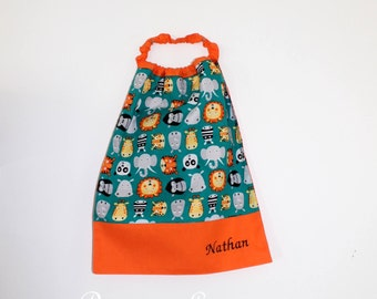 Canteen birthday * bib, napkin, canteen, with elastic at the neck, cotton wild custom animals