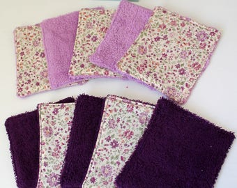10 wipes washable, cotton, floral, purple, sponge, to order